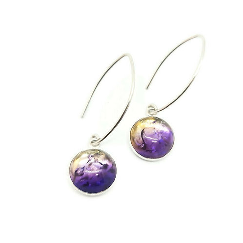 Sterling Silver Violet Ombre Amber Earrings