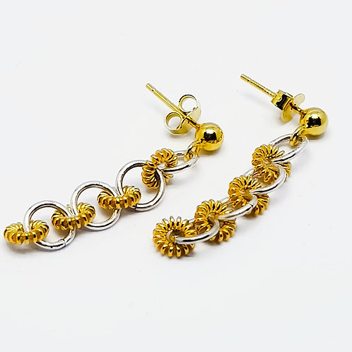 Sterling Silver and Yellow Gold Plated Drop Earrings