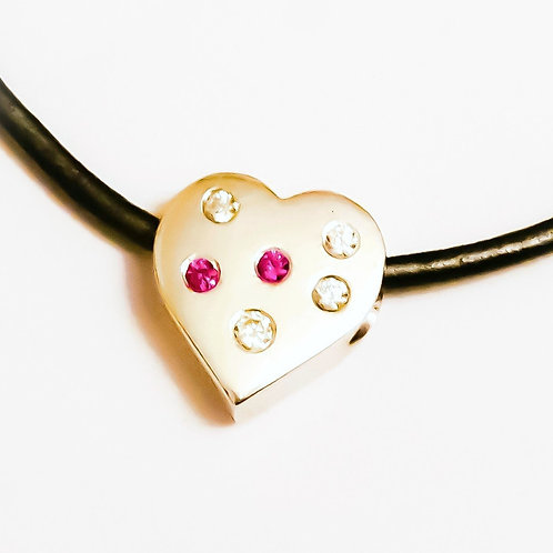 Flush Set Sterling Silver Necklace on Leather Cord All That Glitters Series