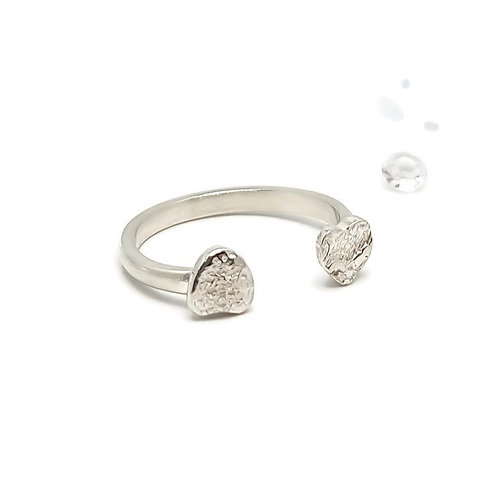 Sterling Silver Adjustable Double Heart Ring Skinni Minni Series