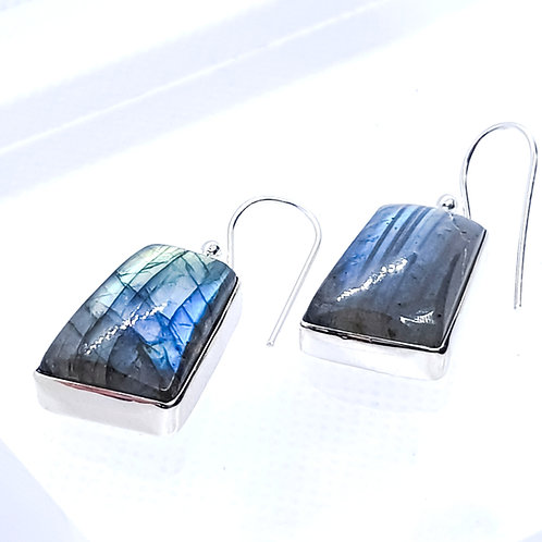 Sterling Silver Flashy Labrodolite Earrings
