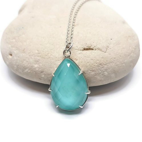 Arizona Turquoise Crystal Doublet Pendant and Chain