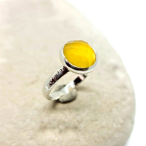 Sterling Silver Rose Cut  Yellow Chalcedony Solitaire Ring