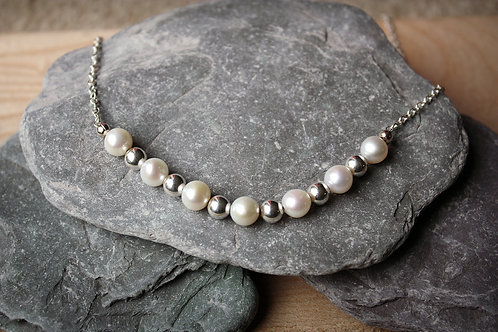 Bridal Pearl Sterling Silver Necklace