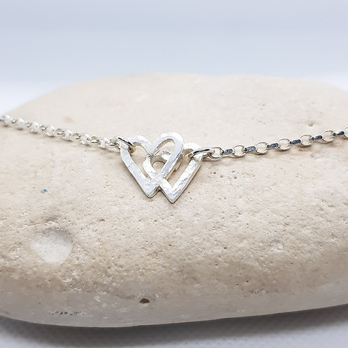 Sterling Silver Interlocking Heart Bracelet