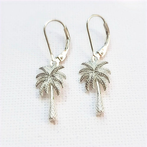 Totally Tropical Sterling Silver Palm Tree Earrings