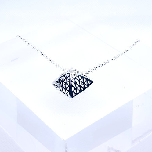 Sterling Silver Pyramid Shaped Pendant and Chain Simplicity Series