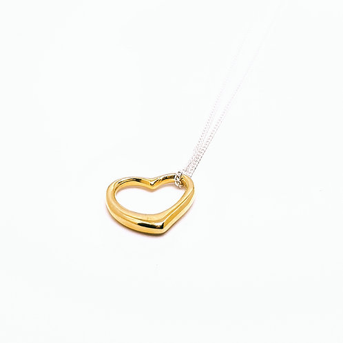 Sterling Silver Open Heart Necklace with Gold Plated Heart Teeny Weeny Series