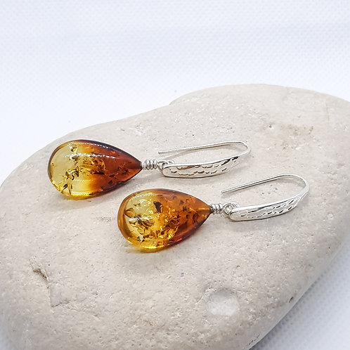Sterling Silver Ombre Amber Drop Earrings