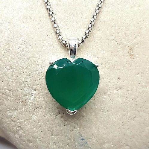 Sterling Silver Green Onyx Heart Shaped Pendant and Chain