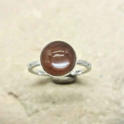 Sterling Silver Chocolate Brown Moonstone Ring