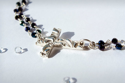 Sterling Silver Asymmetric Cross Necklace