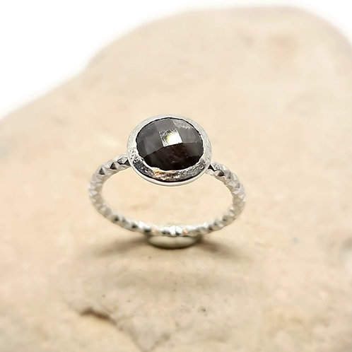 Sterling Silver Grey Sapphire Solitaire Ring