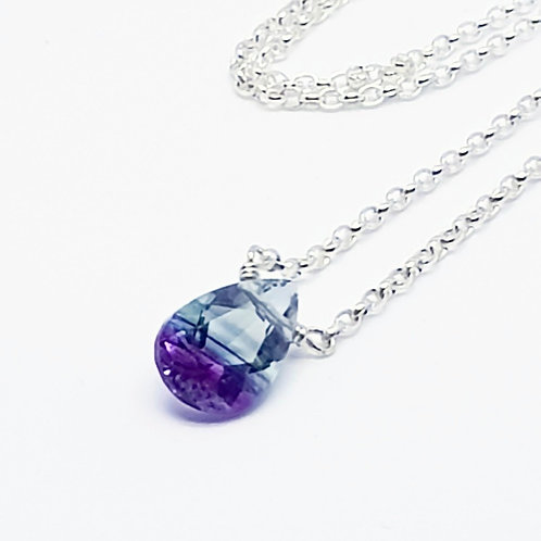 Sterling Silver  Solitaire Fluorite Pear Shaped Necklace Naked gemstone Series