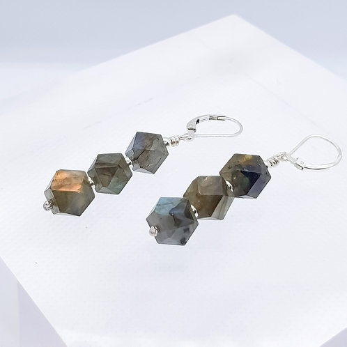 Sterling Silver Labrodolite Drop Earrings
