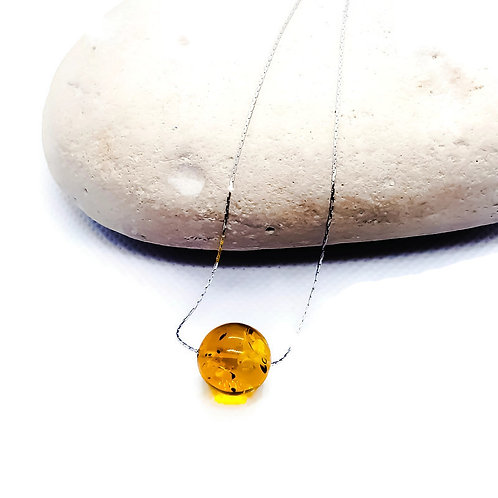 Sterling Silver Baltic Amber Solitaire Necklace Simplicity Series