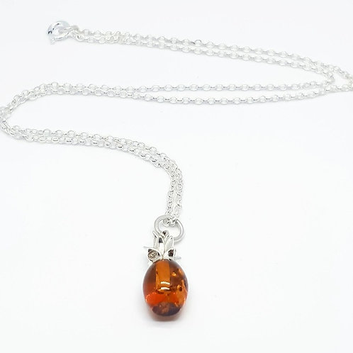 Sterling Silver and Amber Pineapple Necklace Totally Tropical