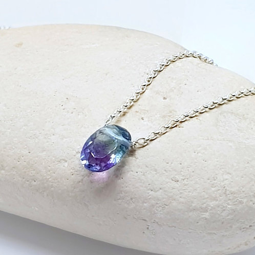 Sterling Silver Solitaire Fluorite Necklace Naked Gemstone Series