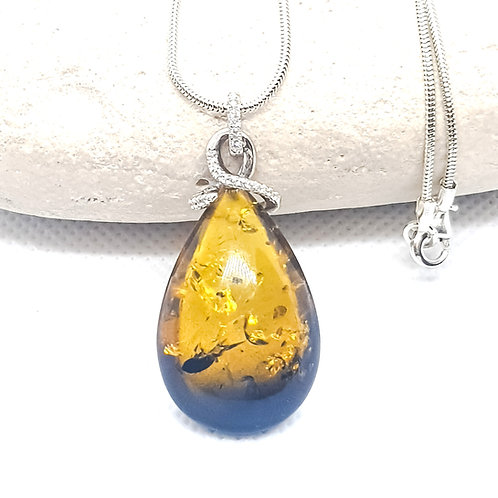 Sterling Silver Ombre Baltic Amber Necklace