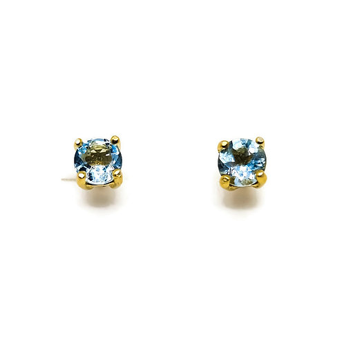 Sterling Silver Gold Plated Aquamarine Stud Earrings