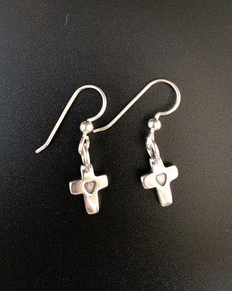 Little Cross Heart Earrings