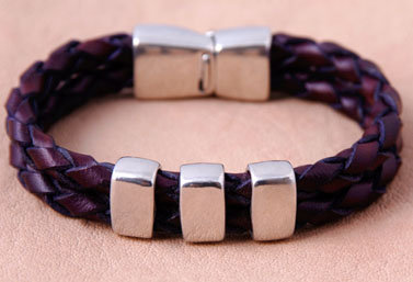 Double-stranded Braided Leather Bracelet