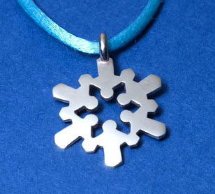 """Holding Hands"" Snow Crystal Pendant"