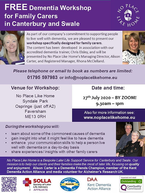 Flyer for Dementia Workshop for Family C