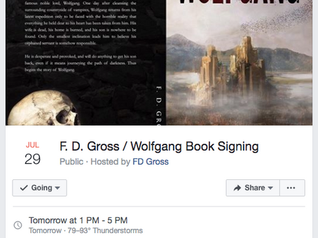 FD Gross / Wolfgang Local Book Signing Event Tomorrow July 29th 2017 @ 1:00pm