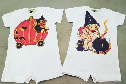 Vintage Halloween Cat or Witch Baby Romper