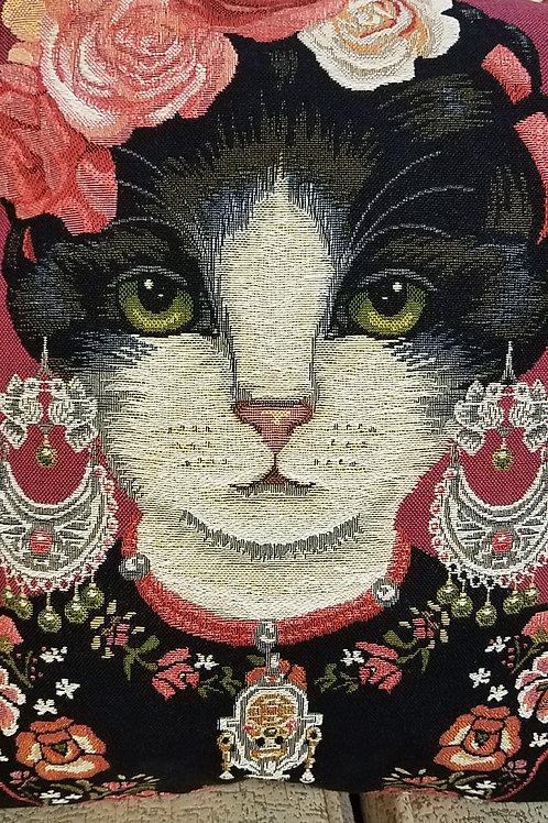 Frida Kahlo Cat & her Cat Patrons Woven Jacquard Pillow