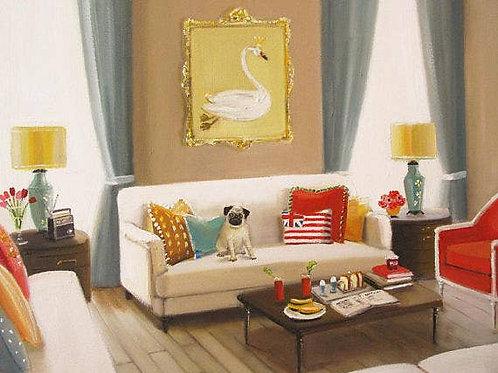 "Janet Hill Art Print:  Pug, 8.5""x11"""