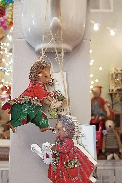 Hedgehog Wood Ornaments - Set of 2