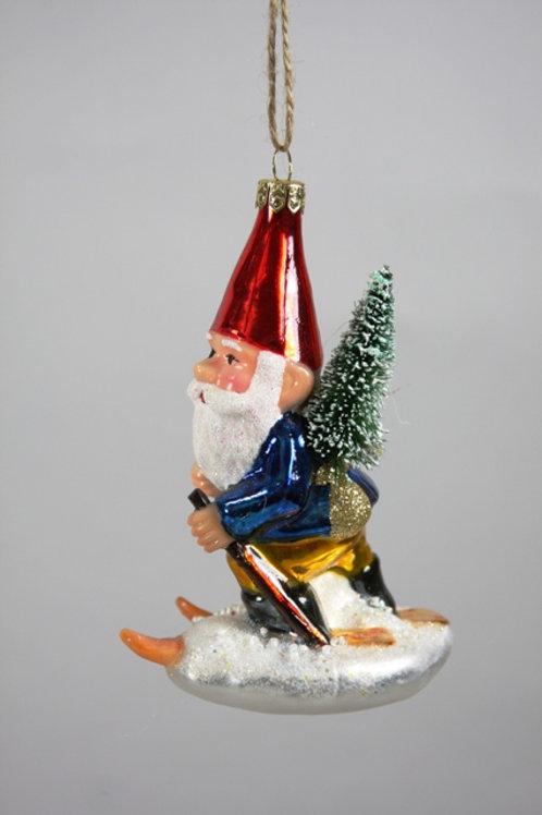 Skiing Gnome Ornament
