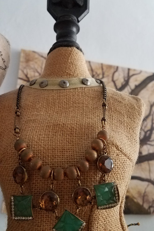 Vintage Brass & Glass Button and Beads Necklace- only one
