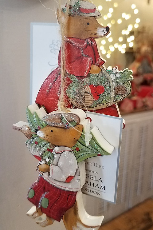Fox Wood Ornaments - Set of 2