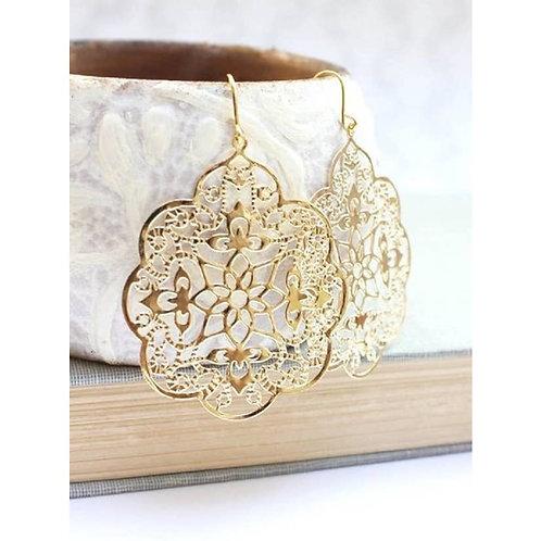 Gold Filigree  Big Dangle Earrings