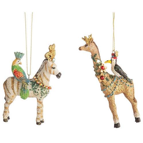 Magical  Zebra & Giraffe Ornaments - Set of 2