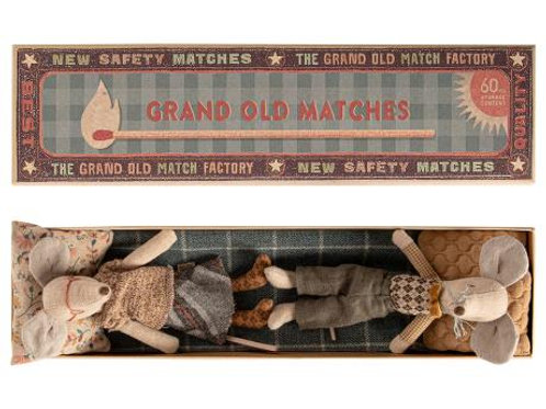 Maileg Grandma and Grandpa Mice in Matchbox