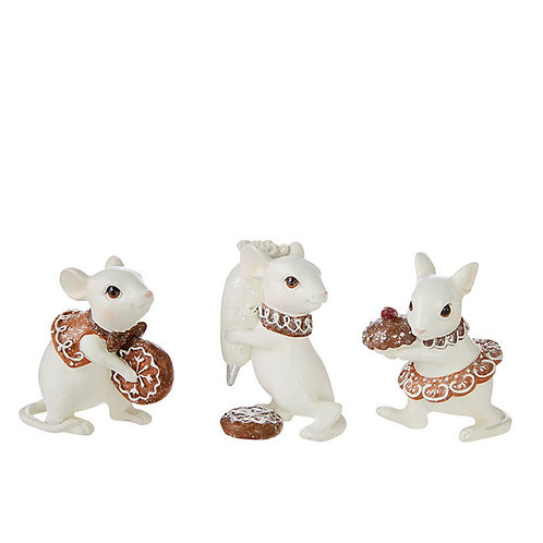 """2.5"""" Mice decorating gingerbread, Set of 3"""