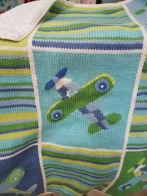 Knit Biplane Blanket
