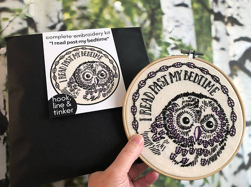 I Read Past My Bedtime Owl Embroidery Kit
