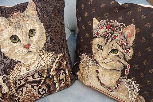 Regency Era Cat Jacquard Pillow Cover