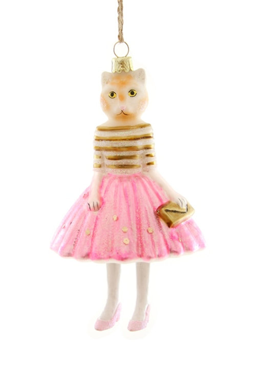 Well-Dressed  PINK LADY KITTY Ornament