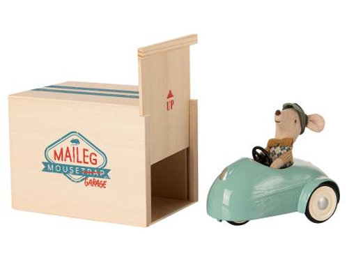 Maileg  Mouse Blue Car with Garage, Winter 2020 Collection
