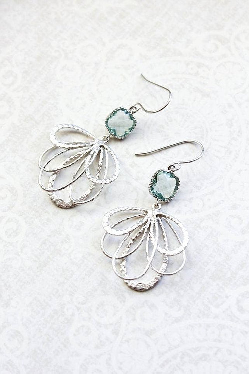 Petals with Vintage Glass Earrings-Silver/Aqua