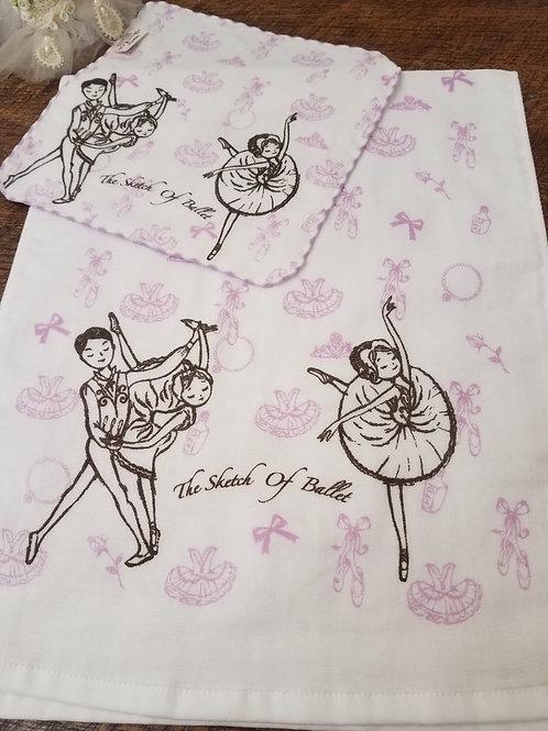 Ballet Sketch Purple Ballet Washcloth & Handtowel Set