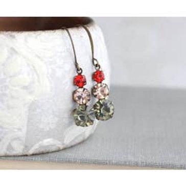 Vintage Glass Drop Earrings-Red Grey