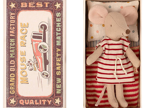 Maileg Big Sister Preppy Mouse in Matchbox
