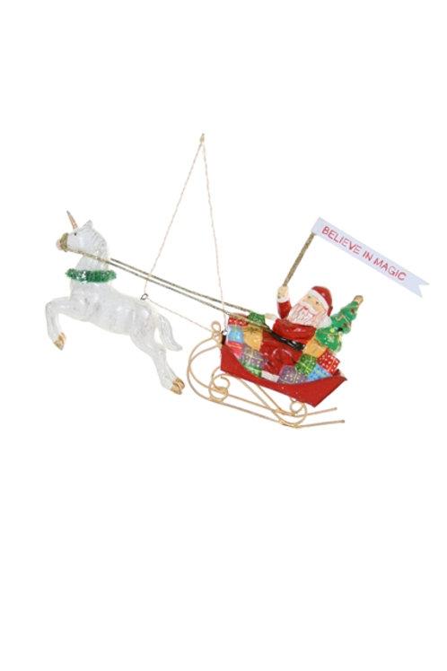 Believe in Magic Santa Sled with Unicorn